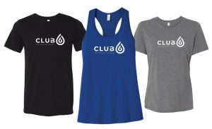 Image of three Club 6 T-Shirts - unisex, fitted, and tank top
