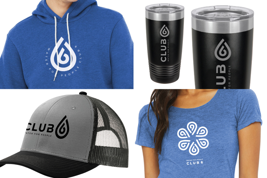 Shirt, hoodie, mug, and hat with Water For People Club 6 logo
